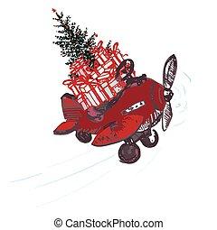 slavnostní, vánoce, card., červeň, letadlo, s, jedle kopyto, ozdobený, červeň, kule, a, dar, dále, střecha, osamocený, oproti neposkvrněný, grafické pozadí