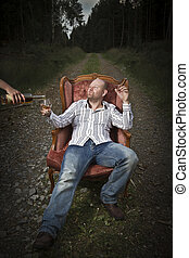 Sleazy Man Get Served Cognac - Sleazy man in a classic...