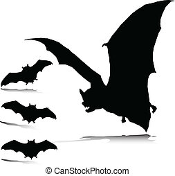 slecht, silhouettes, vector, vleermuis