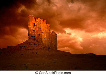 slecht, storm, in, monument vallei, arizona