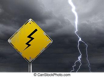 slecht weer, waarschuwend, vooruit, meldingsbord