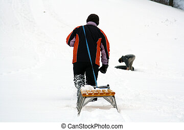 sled drag - young people have fun in the winter