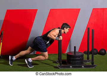 sled, duw, man, voortvarend, gewichten, workout, oefening