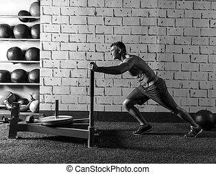 sled, duw, man, voortvarend, gewichten, workout
