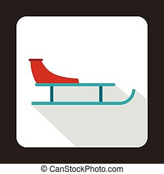 Sled icon in flat style