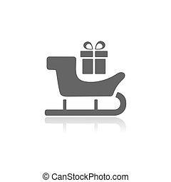 Sled icon with gift and reflection on white background