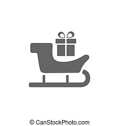 Sled icon with gift on white background