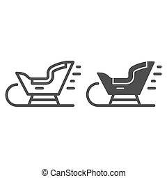 Sled line and glyph icon. Santa sledge vector illustration isolated on white. Christmas sled outline style design, designed for web and app. Eps 10.