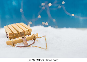 Sled Ornament with Copy Space to Right