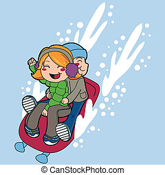 Sled Ride - Boy and a girl friends riding sled fast on snow