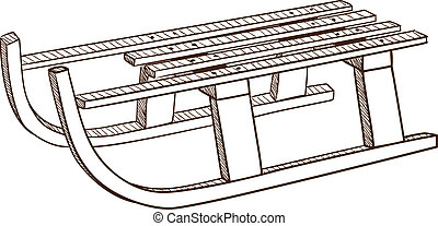 Sled, sledge isolated on white. Sketch vector illustration