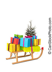 Sled with many Chirstmas presents