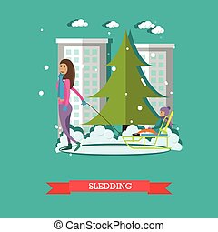 Sledding concept vector illustration in flat style
