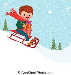 sledding, enfant
