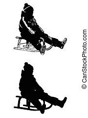 sledding, illustration-vector
