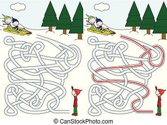 Sledding maze