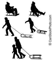 sledding, silhouettes