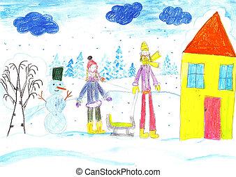 sledding., ustalać, dzieci, snowman., interpretacja, narciarstwo, rysunek, kid.