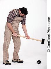 sledge-hammer, esmagando, piggy-banco, homem