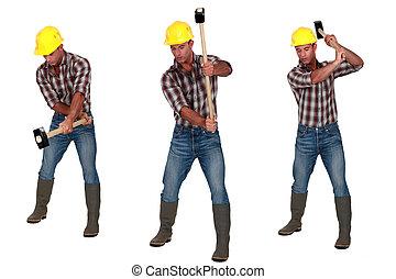 sledge-hammer, gebruik, man