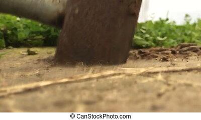 Sledge hammer in slow motion