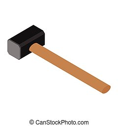 Sledge hammer vector. Hammer with wooden handle.