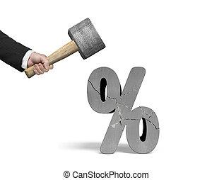 sledgehammer, 印, ヒッティング, 保有物, 割れた, 手, isolat, パーセント