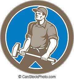 sledgehammer, 組合, 円, 労働者, レトロ