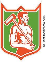 sledgehammer, 組合, 労働者, 保護, レトロ