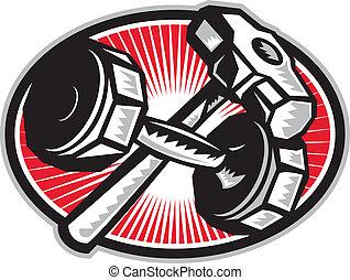 sledgehammer, dumbbell, retro