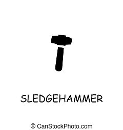 Sledgehammer flat vector icon. Hand drawn style design illustrations.