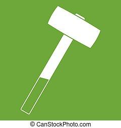 Sledgehammer icon green - Sledgehammer icon white isolated...