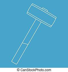 Sledgehammer icon outline - Sledgehammer icon blue outline...