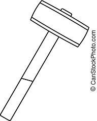 Sledgehammer icon outline - Sledgehammer icon in outline...