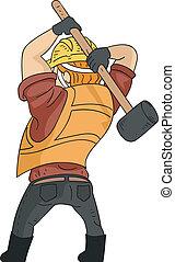 Sledgehammer Man - Illustration of a Man Wielding a...
