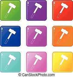Sledgehammer set 9 - Sledgehammer icons of 9 color set...