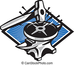 Sledgehammer Striking 45lb Weight Anvil Retro - Illustration...