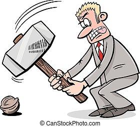 sledgehammer to crack a nut - Cartoon Humor Concept...
