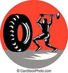sledgehammer, trening, zmęczyć, drzeworyt