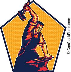 sledgehammer, uderzający, kowadło, pracownik, retro, kowal