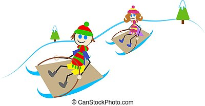sledging kids