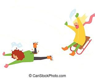 sledging., vecteur, filles, hiver, illustration
