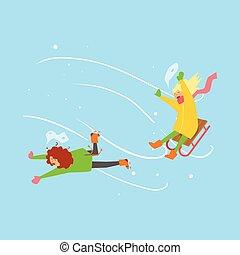 sledging., vector, niñas, invierno, ilustración