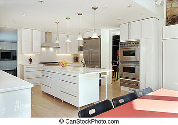 Sleek modern kitchen with white cabinets and island
