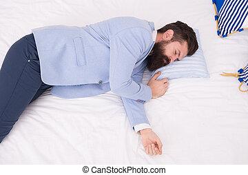 Sleep all can. Bearded man sleep in wedding suit. Sleeping hipster in formalwear. Sleepy time. Bedtime. Healthy sleep habits. Good night. Sleep over it