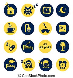 Sleep and insomnia icons isolated in yellow and dark blue circles. Vector illustration
