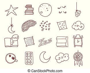 Sleep and insomnia outline items including moon, stars, sheep, pillow, tea or coffee, pills, dream catcher, mask, alarm clock, nightcap isolated on white background. Vector.