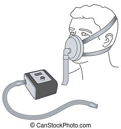 Sleep Apnea, CPAP, Nose -mouth Mask - CPAP machine with...