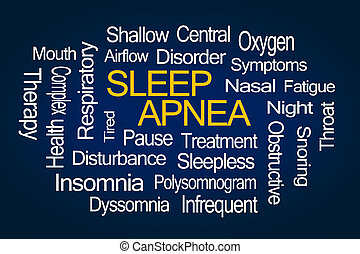 Sleep Apnea Word Cloud on Blue Background