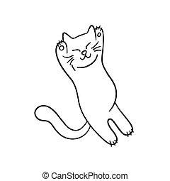 Sleep cat. Cute kitten in doodle style. Hand drawn vector illustration